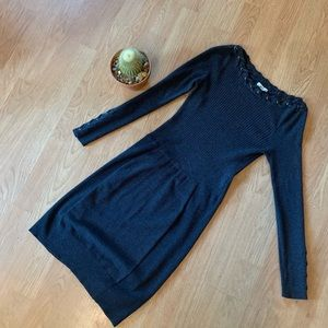 Cache Charcoal Grey Sweater Dress with Braiding